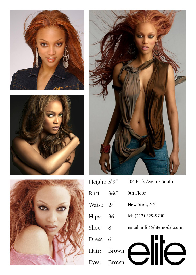 Example of a more polished Comp Card featuring Tyra Banks snagged from Pinterest.com by way of Elitemodel.com