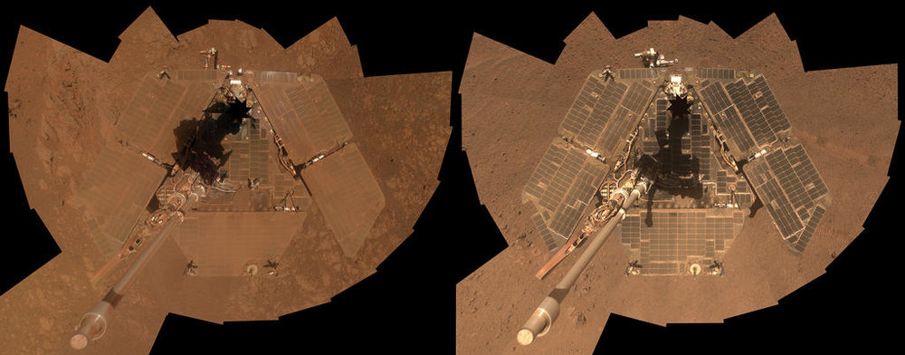 Dr Abby Fraeman  returns to the show to talk about Opportunity, the rover that won't quit. Along with its sister rover, Spirit, Opportunity has discovered Mars rocks that could have only formed in the presence of water.  Image: Opportunity  before and after a dust storm . Image: JPL/Caltech.