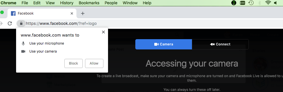 Click Allow to let Facebook use your camera and mic.