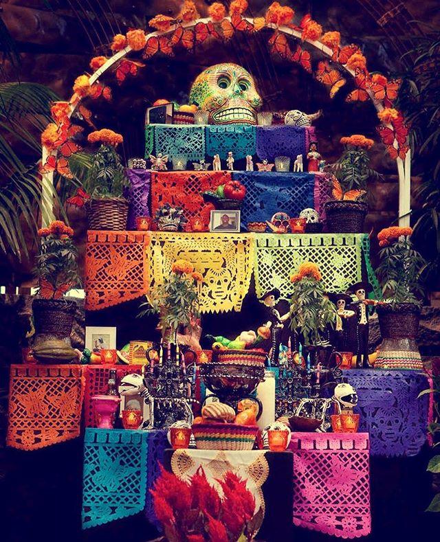 Feliz día de muertos! #altar #altardemuertos #dayofthedead  #calavera #flowers #marigold #food #tradition #huapangos #mexico #sugar #sugarskull #culture #papelpicado #colors #texture #skull #butterfly