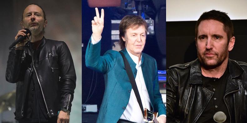 Thom Yorke (Jordi Vidal/ Redferns ),  Paul McCartney  ( Frank Hoensch /Redferns), Trent Reznor (Brian Killian/ WireImage ); via  Pitchfork