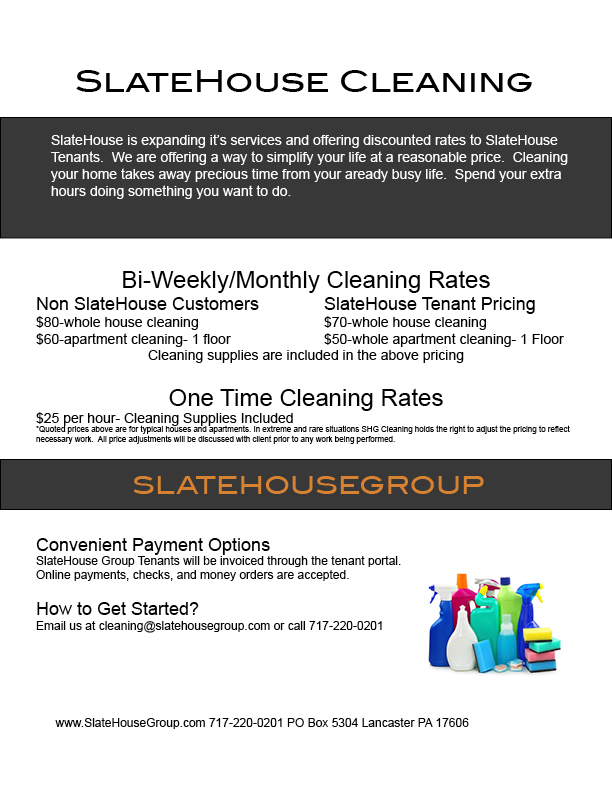 CleaningResidential — SlateHouse Group Property Management