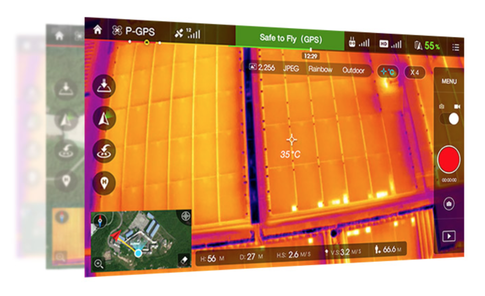 DJI GO App view of the Zenmuse XT Thermal Camera.