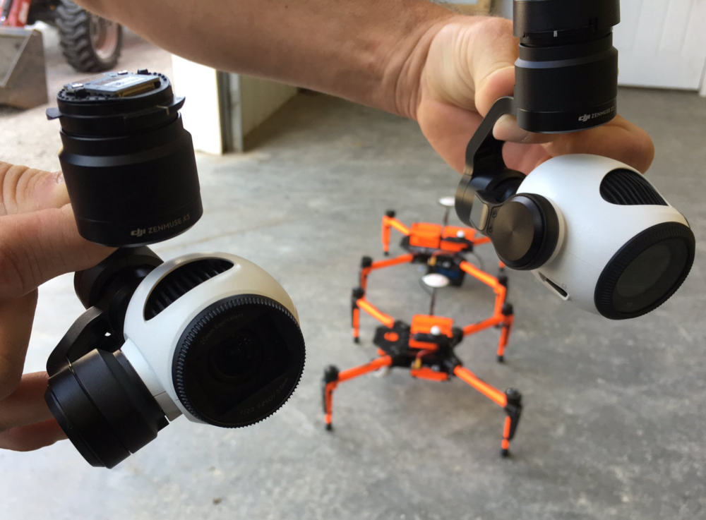 Left: Stock DJI X3 camera. Right: NEW DJI DJI Zenmuse Z3 camera with integrated zoom.