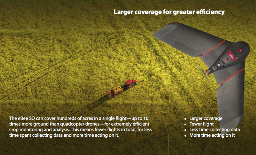Priced at $10,900 w/ Parrot Sequoia Sensor, here's the new  SenseFly eBee SQ .   Excited to see this along with latest software  Atlas Software from Micasense  (see below).