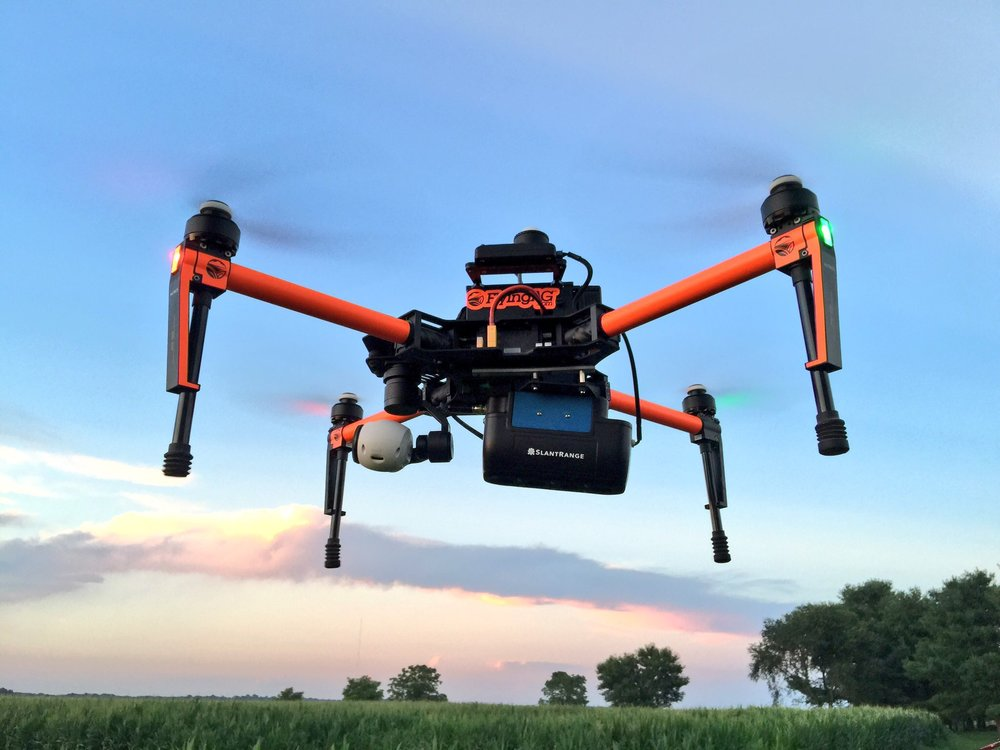 FlyingAg Matrice Pro Kit  w/  Slantrange  camera system.   This solution has infield processing capabilities, impressive option in 2017.