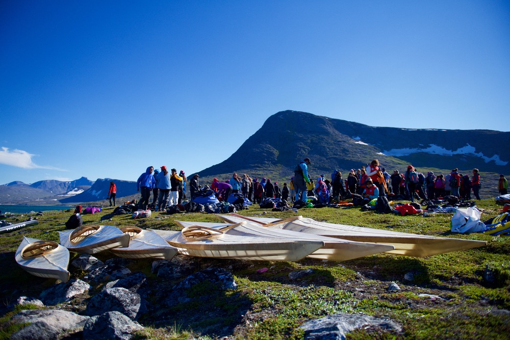 Inuit and qalunaat youth get ready to explore Eclipse Channel in handmade Inuit qajaqs. I think this might be the first time in 150 years that Inuit have paddled handmade Inuit qajaqs in the northern reaches of the Torngat Mountains.  ‪#‎ᖅᔭᖅ‬   ‪#‎qajaq‬   ‪#‎qisforqajaq‬   ‪#‎makinghistory‬   Students on Ice