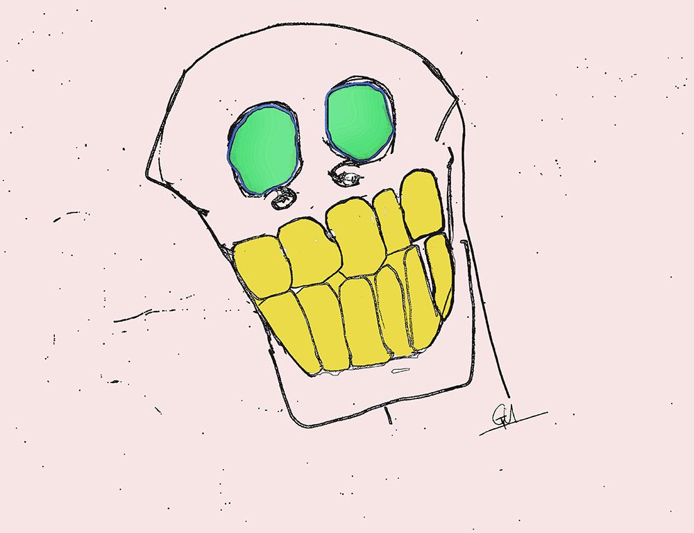 Skull #2 (Pencil & Digital Colouring, 2017)