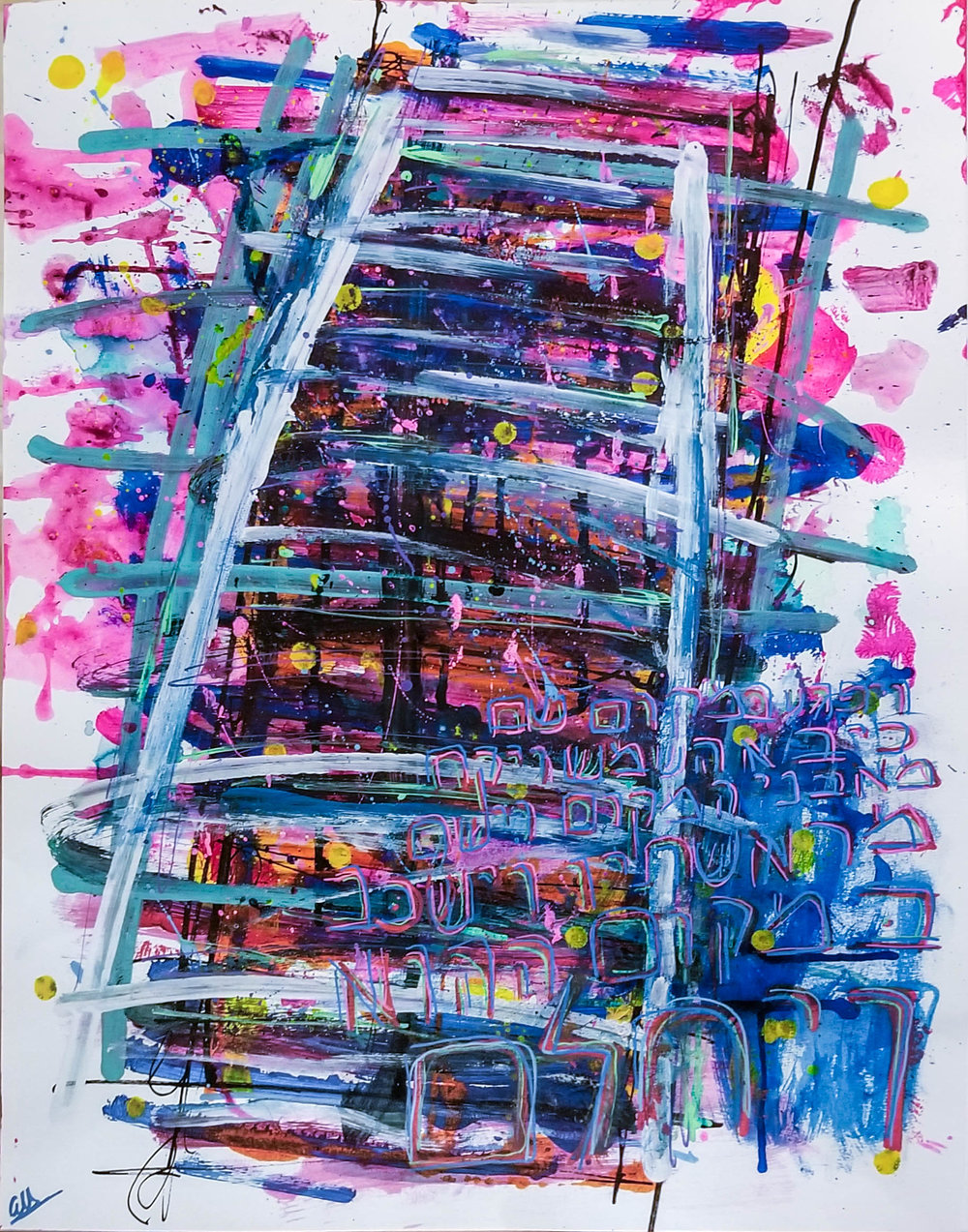 The Ladder (Acrylic, Fabric Dye, Watercolour on Paper, 24 X 18 Inches, 2018)