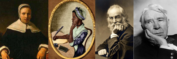 From Left to Right: Anne Bradstreet, Phillis Wheatley, Walt Whitman, Carl Sandburg