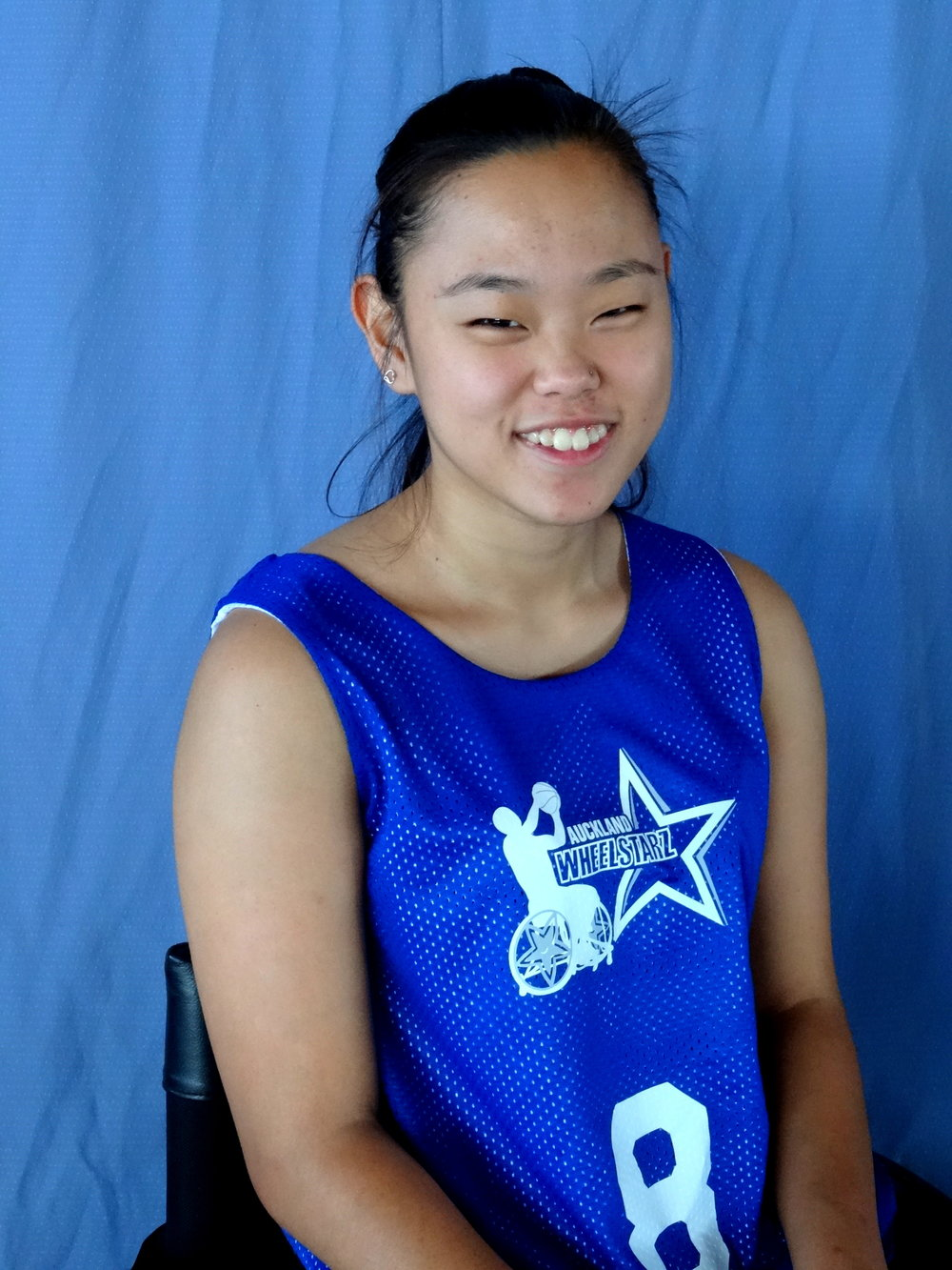 Grace Lee - I am 21 years old and I have Cerebral Palsy.  I have been playing wheelchair basketball for 3 years. I really enjoy wheelchair basketball as it gives me purpose and motivation to keep pushing hard to get better and better each time I train.It is great being a part of the Auckland WheelStarz. In early 2017 I got the opportunity to travel to Australia and attend the Women's Festival of Wheelchair Basketball held in Sydney. It was an amazing experience to play alongside Paralympians and learn valuable skills to bring back to New Zealand.