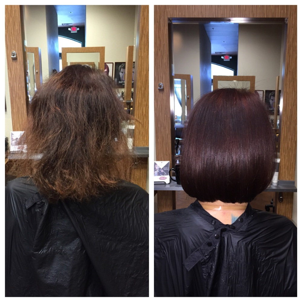 What a transformation! From fine and frizzy to thick & shiny, it's amazing what the right color, cut and product can do. Color, cut & style by Jonah at our Southern Highlands location.