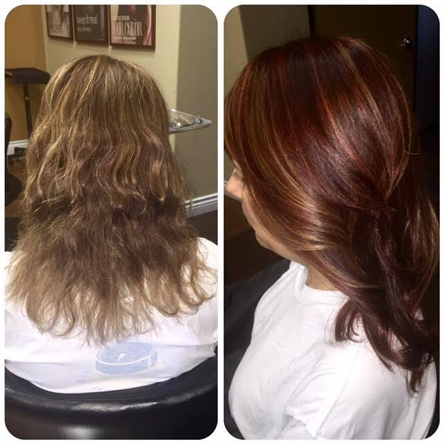 Ladies, its that time of year! Hello fall! We are loving this rich transformation. Subtle painted highlights contrast gently with a deep, rich red. Finished with a clear gloss to add intense shine and longevity. Color, cut and style by Brittany H. at our Summerlin location.