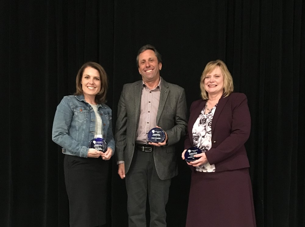 Awardees from left to right: Tiffany Perrin representing the Zoma foundation, Marc winokur, and colorado attorney general cynthia coffman.  Unpictured: Colorado state representative dafna michaelson jenet