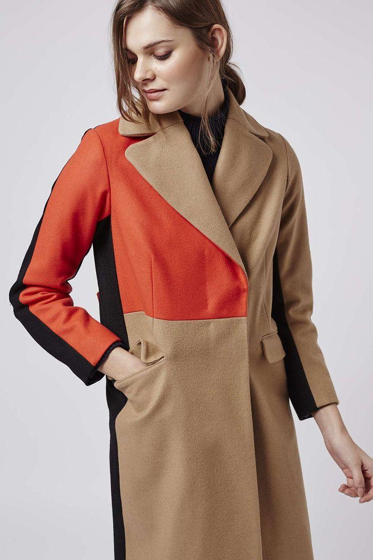 Topshop Color Block Wool Blend Coat $240