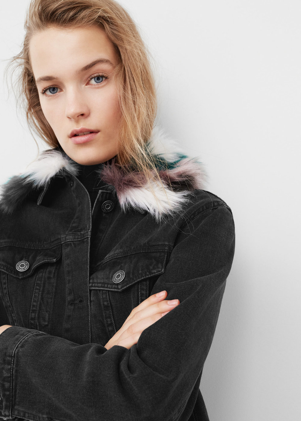 Mango - Faux Fur Denim Jacket