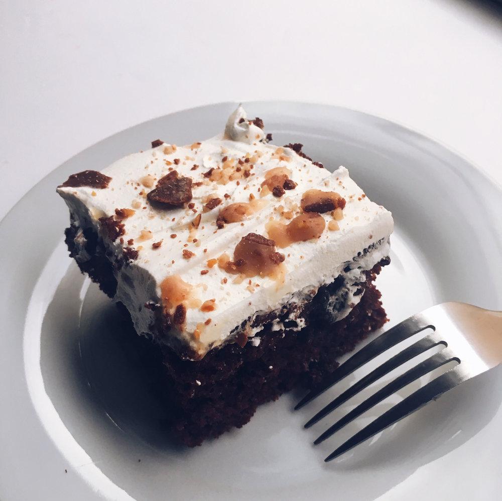 The Yummiest Chocolate Poke Cake