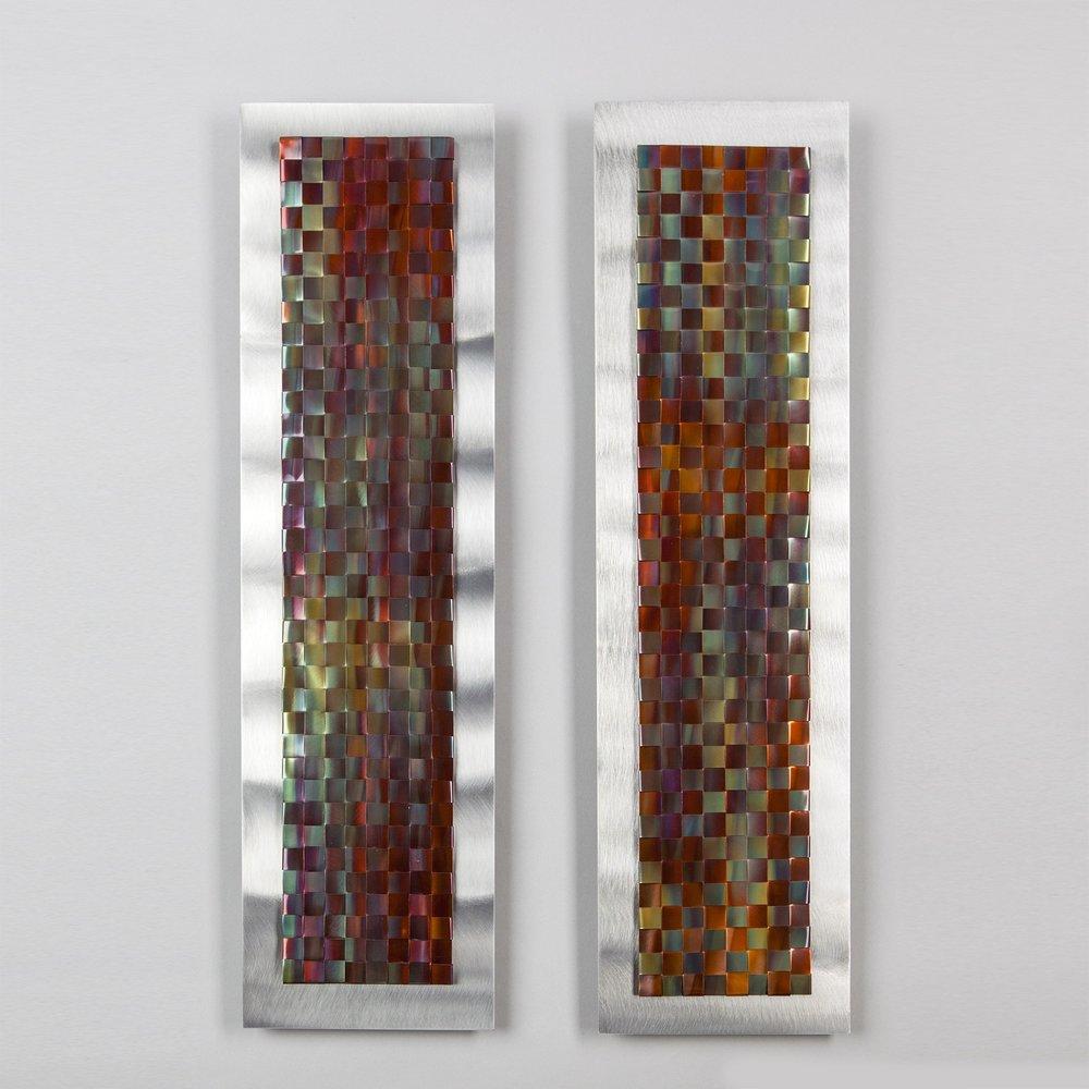 "Woven copper on aluminum  22"" x 6"" each  2019"
