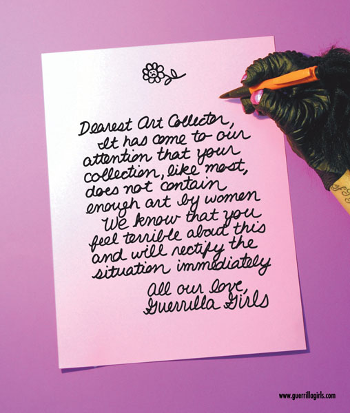 Dear Art Collector, 1985/1986. Copyright © Guerrilla Girls Courtesy  www.guerrillagirls.com