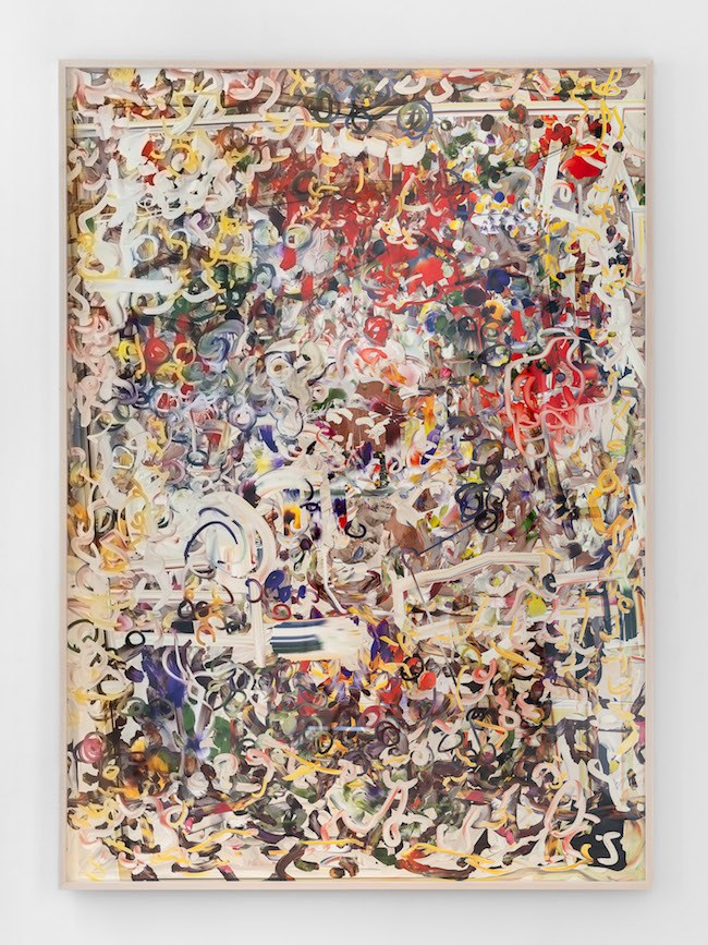 Petra Cortright, man_bulbGRDNopenz@CharlezSchwaabSto9ds (2016). Digital painting on Sunset Hot Press Rag paper, 82.4 x 59 inches. Image courtesy of 1301PE, Los Angeles. Photo: Chris Adler.