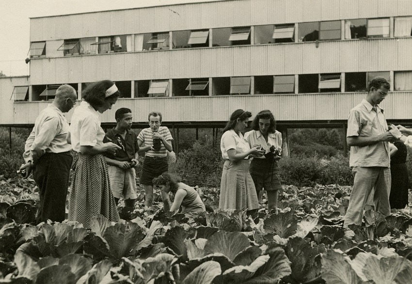 Photography class in Cabbage Patch (no date). Photo by Barbara Morgan. Image courtesy of Western Regional Archives, State Archives of North Carolina, Asheville, NC.