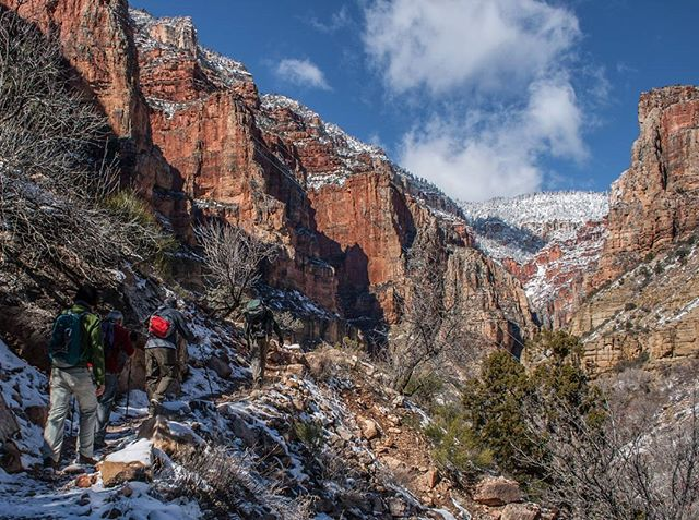The intensity of last night's snowstorm becomes apparent as we gain elevation on the Kaibab Trail towards the frosted pines on the North Rim. @grandcanyonnps #northkaibabtrail #grandcanyon #grandcanyonnationalpark