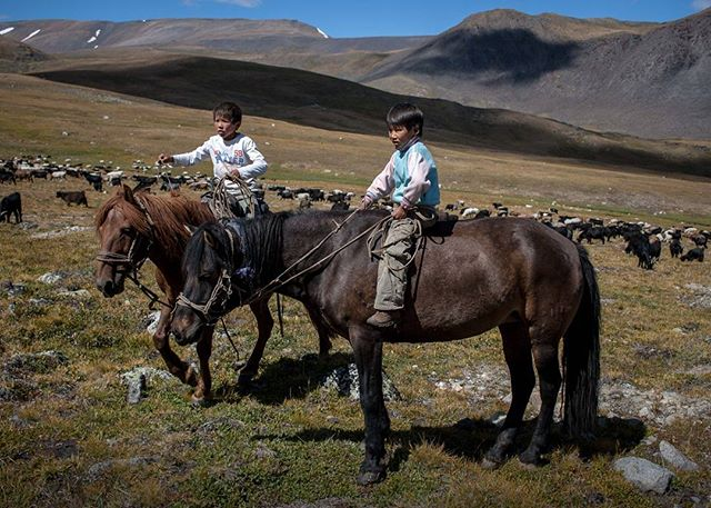 What did you do at 8 years old? Responsibility starts early in the nomadic cultures of western Mongolia. As winter approaches, two brothers, ages 8 and 10, herd the family goats bareback across the Altai Mountians that border Russia and China. #mongolia #altai #kazakh #chores