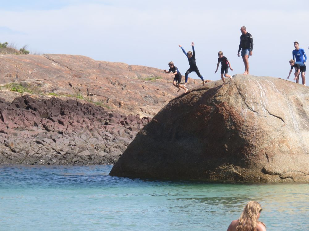 Jumping off the rocks at Green Pool in Denmark, Western Australia
