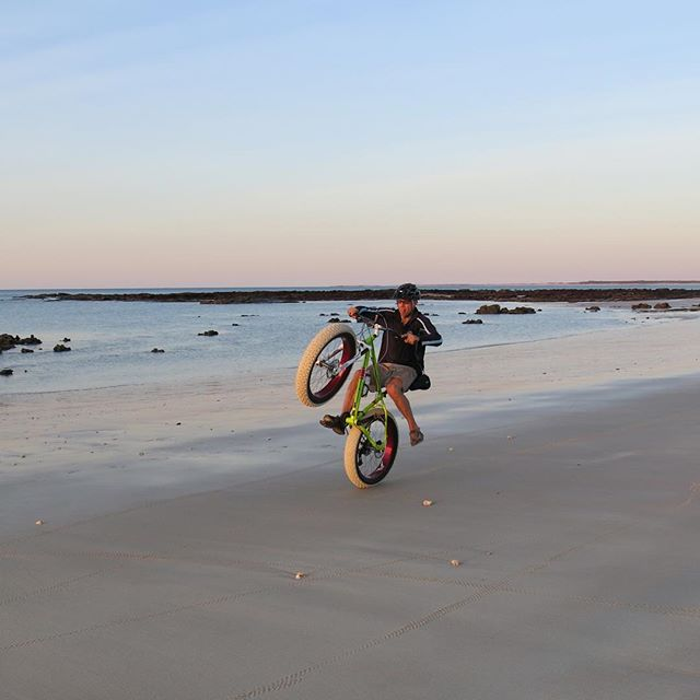 Getting salty on his @saltedbikes Always a kid on a fat bike #lovetheoutdoors #fatbike #nevertoofat #saltedbikes #bike #cycling #mono #beach #outdoorsisfree #isicarrier #roadtrip #thekimberleyaustralia #westernaustralia #australia #thisiswa #holidays