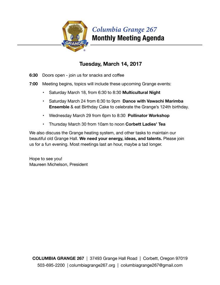 Monthly Grange Meeting — Columbia Grange 267