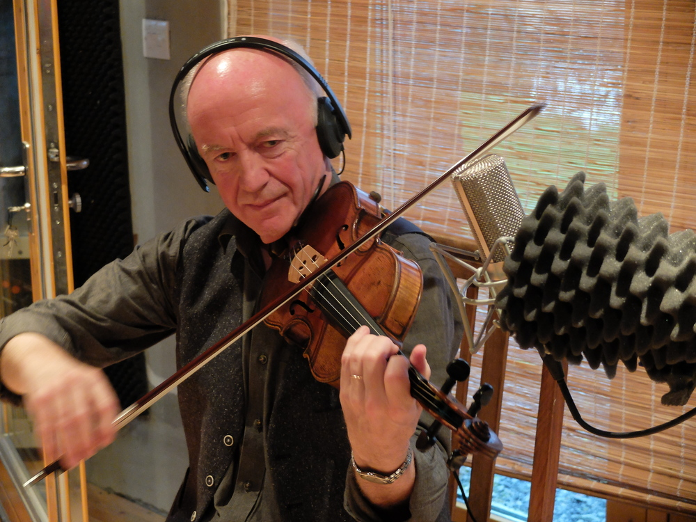 Seamus during recording of The Return of Spring album, April 2015.    The Maggini copy fiddle in this pic was previously owned by Sligo fiddler, Tom Gannon who used it in his performances with legendary fiddler Michael Coleman in New York in the 1920s.