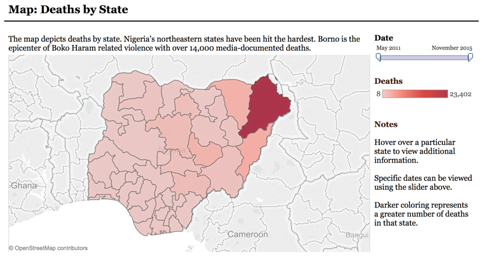 Northeastern Borno State is the epicenter of 23,402 deaths since May 2011. Map from the Council on Foreign Relations Africa Program's Nigeria Security Tracker.  http://www.cfr.org/nigeria/nigeria-security-tracker/p29483.