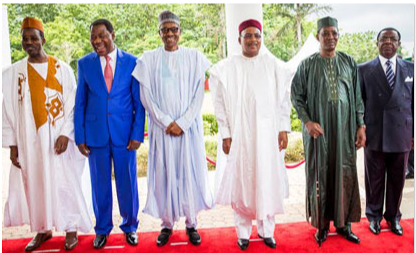 A June 2015 meeting of Lake Chad Basin Commission Executive Secretary with leaders from Benin, Nigeria, Niger, Chad, and Cameroon. Photo from Vanguard.  http://www.vanguardngr.com/2015/06/fg-to-rebuild-churches-mosques-destroyed-by-insurgents-to-bear-major-cost-of-mnjtf/