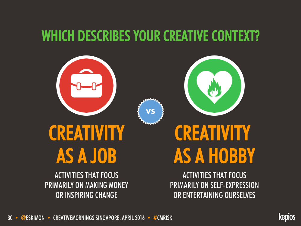Creativity - Job vs. Profession - Kepios @eskimon