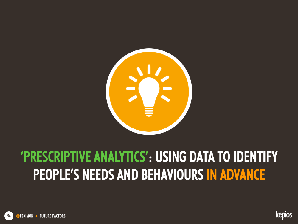 Prescriptive analytics: using data to identify people needs and behaviours in advance - Kepios @eskimon