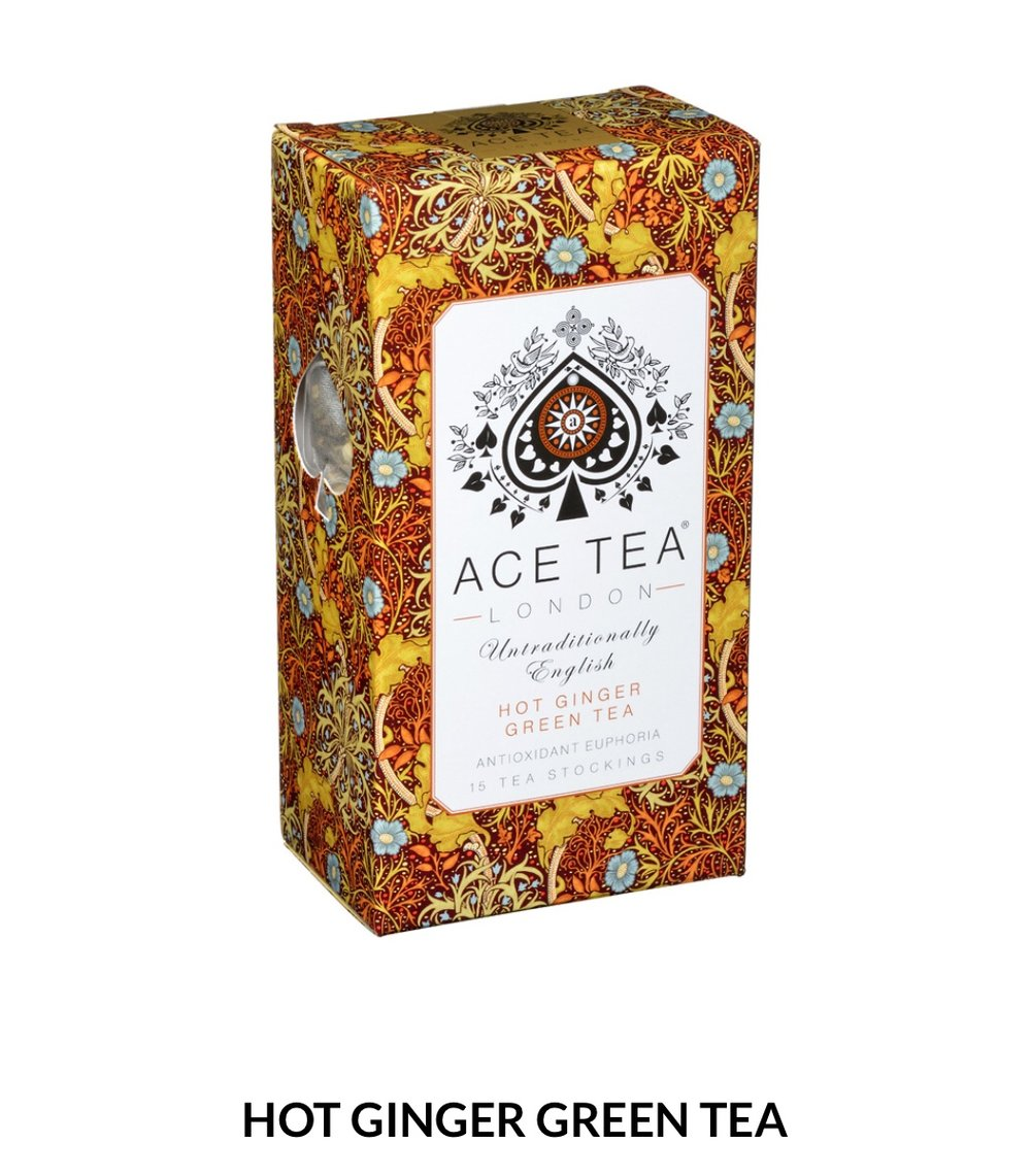 A fiery, ginger green tea that has a punch. Full-bodied and deliciously refreshing.  15 Tea Stockings- 37.5g  $8
