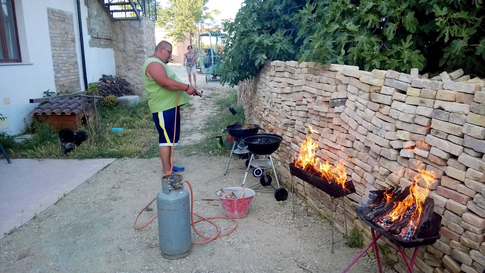 This is Miro barbecuing with what is basically a flamethrower, wearing crocs. (Best Picture I had of him.)