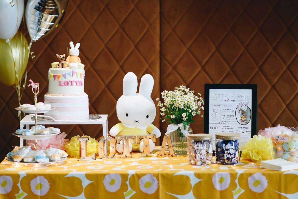 Miffy inspired dessert table for Lotta.
