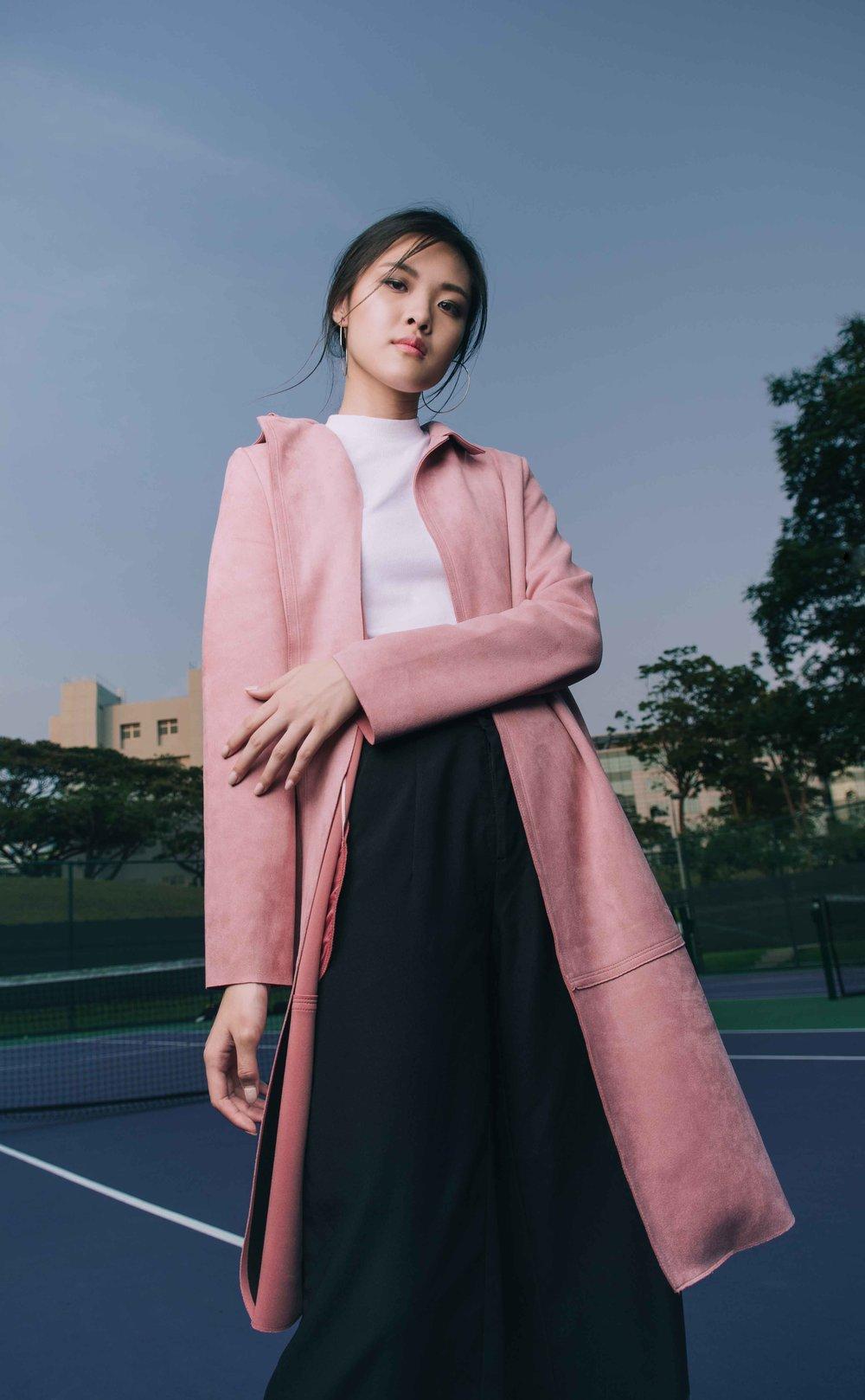 Pink Coat on Purple Court #1