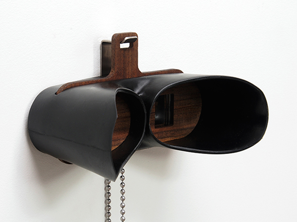 TwinScope Viewer  , 2016; Pressure-cast polyurethane, oiled hardwoods, lenses, hardware