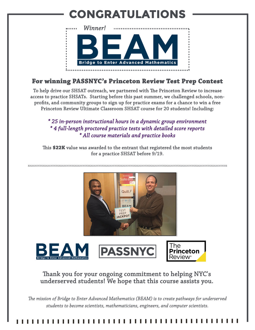 Pictured above: PASSNYC Founder Ryan J. S. Baxter awards contest prize to BEAM Founder Daniel Zaharopol