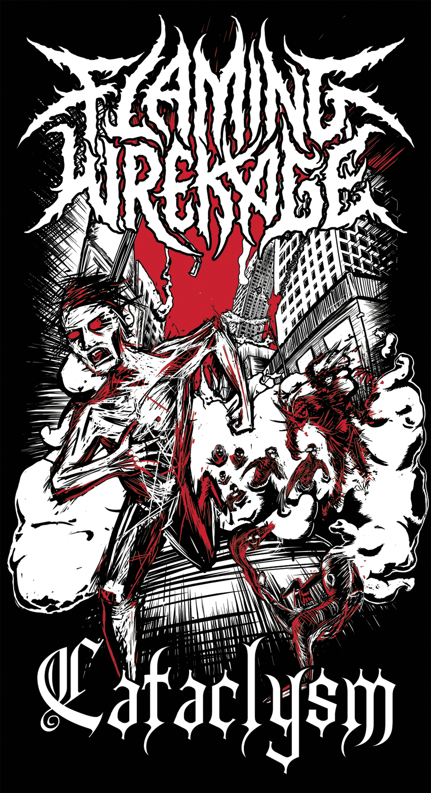 """A short while ago, Sydney metal lads  Flaming Wrekage  took some time out from shredding really goddamn hard to ask me to do a shirt for their upcoming Cataclysm tour.  """"Can I put some bitchin' explosions and like, gnarly apocalyptic visuals in there?"""" I asked.  """"We request that you do,"""" came their reply."""