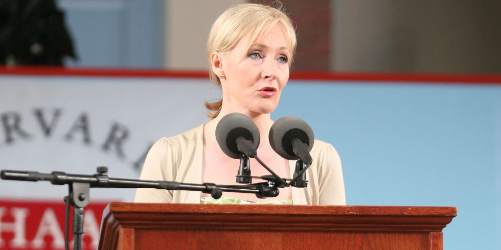 J.K. Rowling delivering a commencement speech to Harvard University graduates.