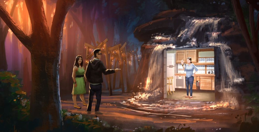Guests move from the forest into the final scene in which they meet Katie in the flesh.  Illustration by Chris Bradley.