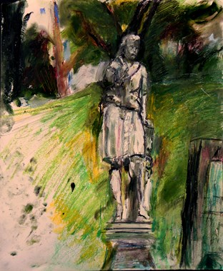 "Howard Skrill, Lawson and Granddaughter from Green-Wood Cemetery, Brooklyn, , oil stick, oil pastel, chalk pastel, colored and graphite pencils on paper, 14"" x 17"", ©2016"