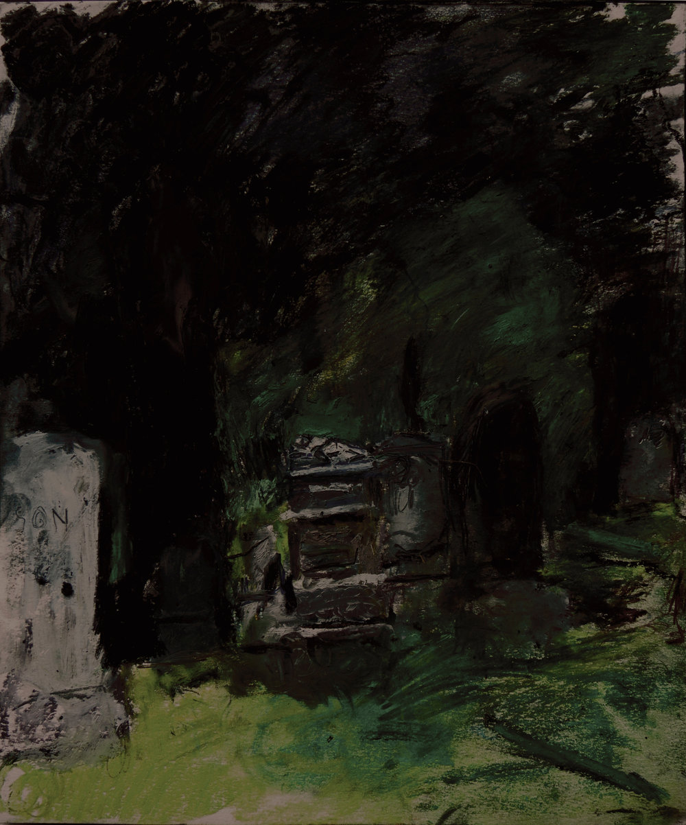 "Howard Skrill, Infant on tomb from Green-Wood Cemetery, Brooklyn, , oil stick, oil pastel, chalk pastel, colored and graphite pencils on paper, 14"" x 17"", ©2016"