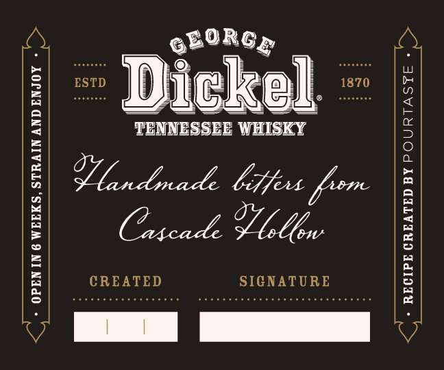 PourTaste designs custom bitters recipe for George Dickel. - PourTaste designed a custom bitters recipe for George Dickel Tennessee Whiskey, which was showcased throughout 2017 at their Cascade Hollow Distilling Co location. The hand made experience allowed national industry and VIP guests to combine the ingredients and age the bitters at home themselves. The recipe was designed around the Tennessee Whiskey and utilized Tennessee's agricultural history in its creation.