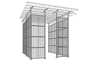 "This partition system features floor-to-ceiling posts up to 48' high. Standard post spacing is 2' to 10' center-to-center. Custom post spacing is also available. Ideal for maximizing storage or workspace as the partition utilizes the full height of your facility. Panels are made of 2"" x 2"" x 10 GA welded wire mesh framed in 1 1/4"" x 1 1/4"" x 12GA structural angle with one or two welded ø 1/2"" ø reinforcement rods."