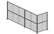 "Panels are made of 2"" x 2"" x 10 GA welded wire mesh framed in 1 1/4"" x 1 1/4"" x 12GA structural angle with one or two welded 1/2""ø reinforcement rods."