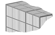 "Roof panels are made of 2"" x 2"" x 10 GA welded wire mesh framed in 1 1/4"" x 1 1/4"" x 12GA structural angle with one or two welded 1/2"" ø reinforcement rods."